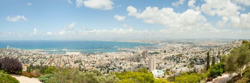 Vista panorâmica de Haifa Israel fotografia de stock