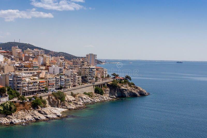 Vista panorâmica de Kavala, Grécia foto de stock royalty free