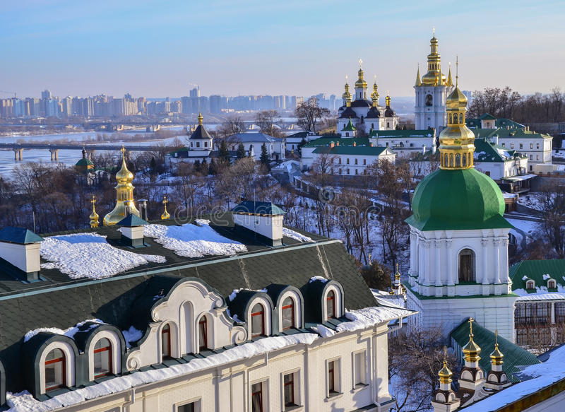 Vista panorâmica de Kiev Pechersk Lavra imagens de stock