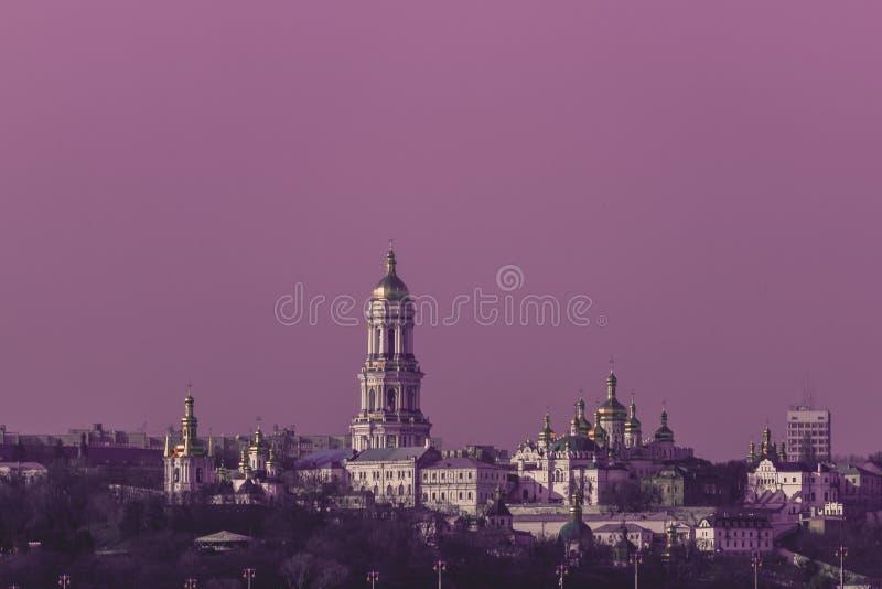 Vista panorâmica de Kiev Pechersk Lavra Orthodox Monastery em Kiev, Ucrânia imagem de stock