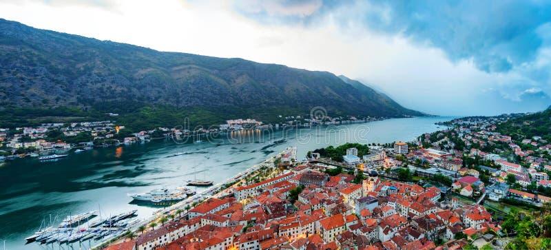 Vista panorâmica de Kotor fotografia de stock