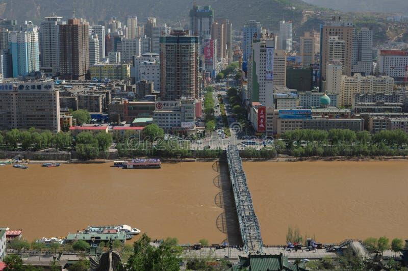 Vista panorâmica de Lanzhou, China imagem de stock