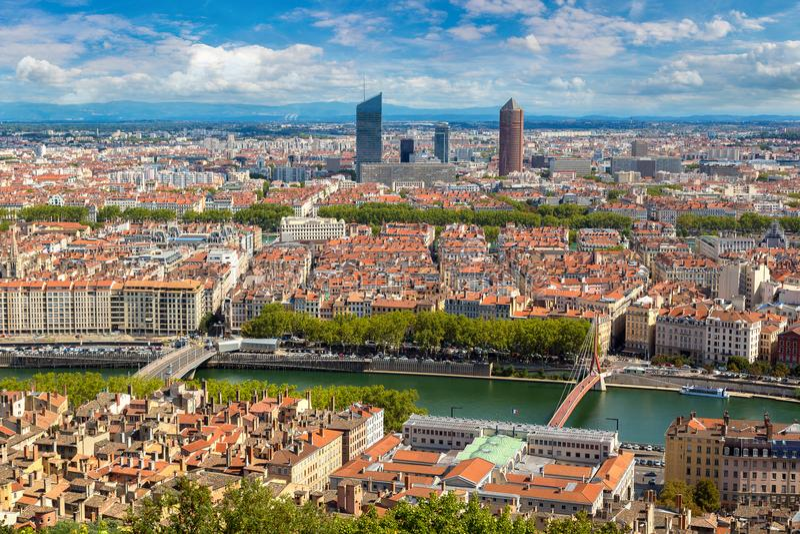 Vista panorâmica de Lyon, França imagem de stock royalty free