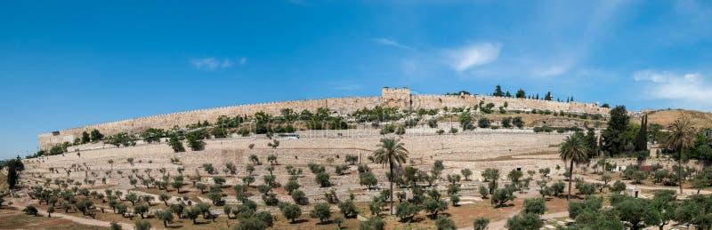Vista panorâmica de paredes do Jerusalém foto de stock