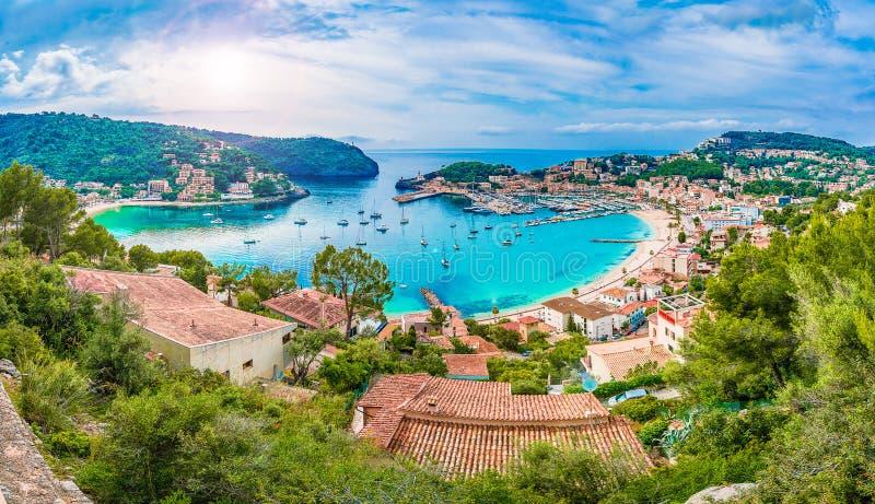 Vista panorâmica de Porte de Soller, Palma Mallorca, Espanha imagem de stock royalty free