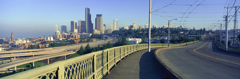 Vista panorâmica de Seattle, skyline de WA na manhã foto de stock royalty free