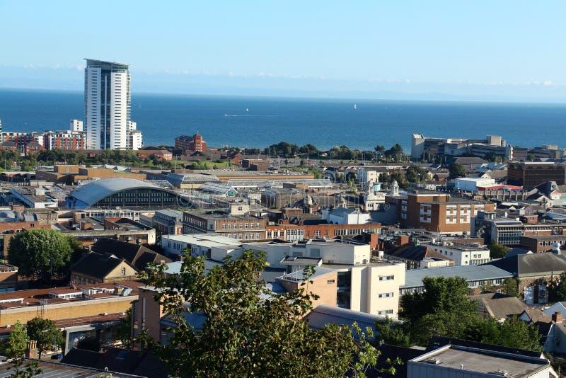 Vista panorâmica de Swansea, Gales, Reino Unido imagem de stock royalty free