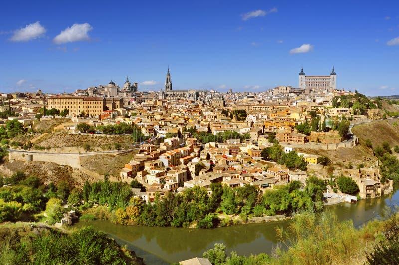 Vista panorâmica de Toledo, Espanha, e do Tagus River imagem de stock