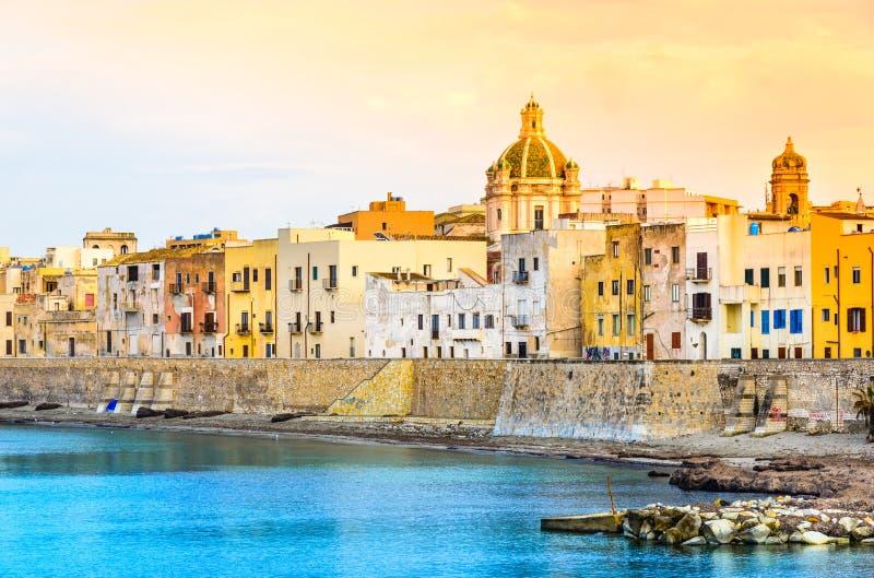 Vista panorâmica de Trapani, Sicília, Itália fotos de stock