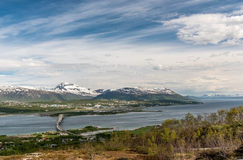 Vista panorâmica de Tromso Tromsø fotos de stock royalty free