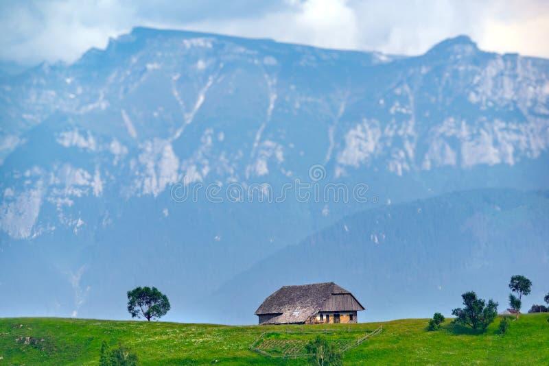 Vista panorâmica de uma paisagem da mola nas montanhas, com uma casa do sheepfold nos picos, nas árvores dispersadas e nas montan fotografia de stock royalty free