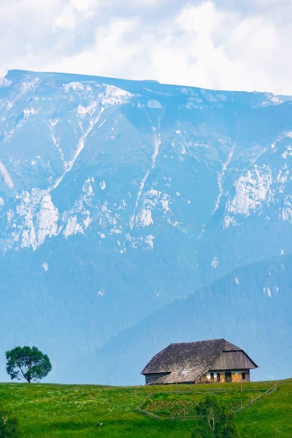Vista panorâmica de uma paisagem da mola nas montanhas, com uma casa do sheepfold nos picos, nas árvores dispersadas e nas montan imagem de stock royalty free
