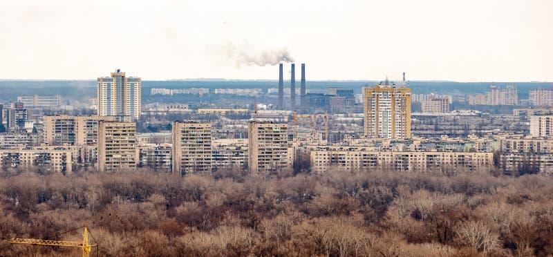 Vista panorâmica do banco esquerdo Kiev do parque da glória eterno fotos de stock