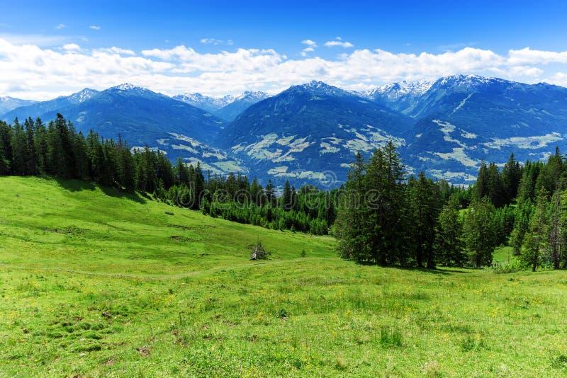 Vista panorâmica do cenário da montanha do verão nos cumes imagens de stock