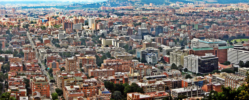 Vista panorâmica do centro de Bogotá, Colômbia fotografia de stock