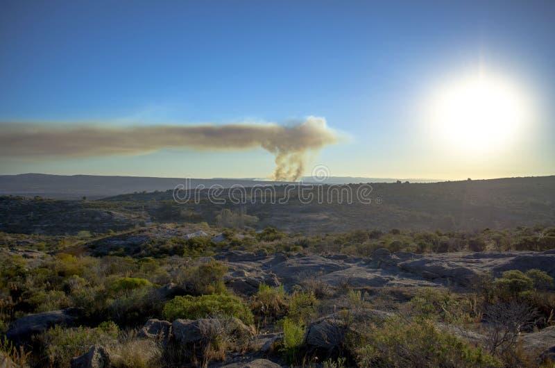 Vista panorâmica do incêndio violento imagens de stock