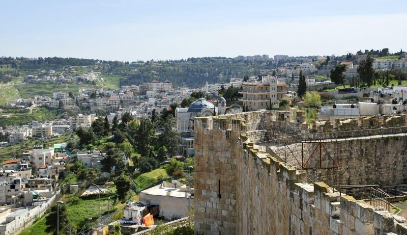 Vista panorâmica do Jerusalém do leste, Israel fotos de stock