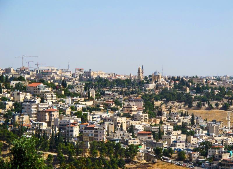 Vista panorâmica do Jerusalém e da abadia de Dormition em Mount Zion do Monte das Oliveiras Jerusalem, Israel Em junho de 2014 fotografia de stock