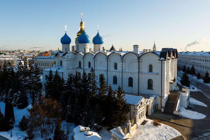 Vista panorâmica do Kul-Sharif e da catedral do aviso, Kazan foto de stock royalty free