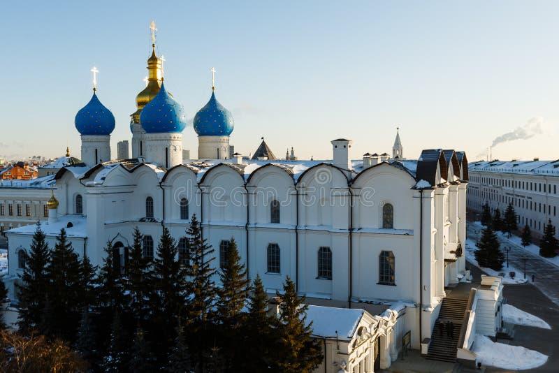 Vista panorâmica do Kul-Sharif e da catedral do aviso, Kazan fotografia de stock royalty free