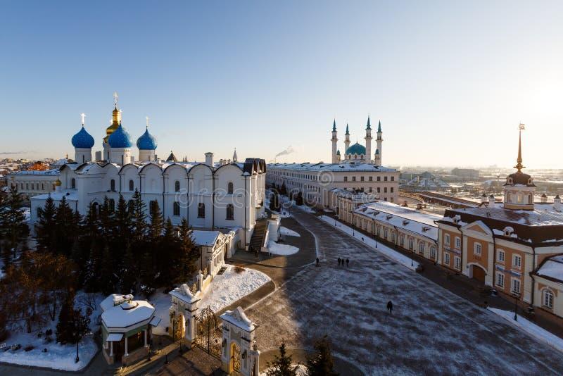 Vista panorâmica do Kul-Sharif e da catedral do aviso, Kazan fotos de stock royalty free