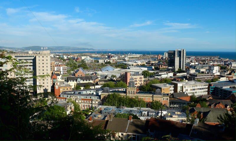 Vista panorâmica do litoral de Swansea, Gales Reino Unido imagem de stock royalty free