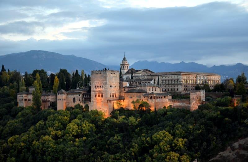 Vista panorâmica do palácio de Alhambra, Granada, Espanha fotografia de stock
