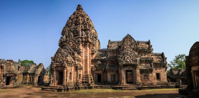 A vista panorâmica do Phanom soou o templo em torno de Nang Rong, Buriram, Tailândia imagem de stock