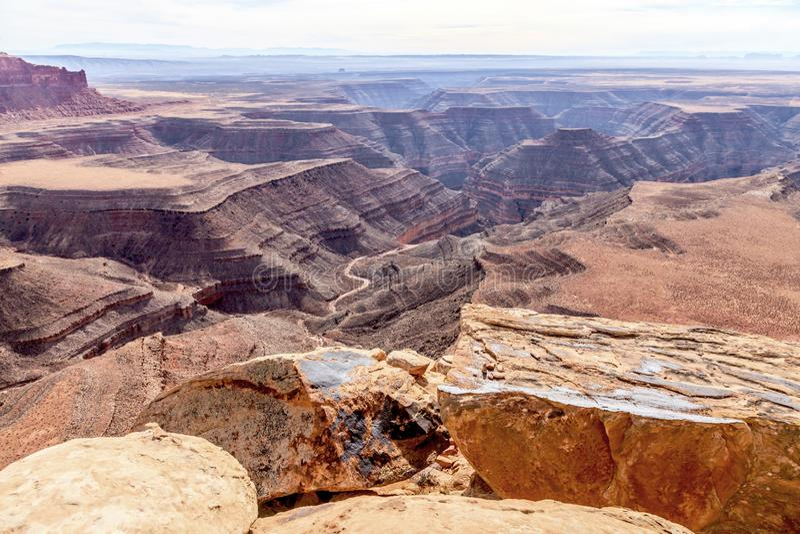 Vista panorâmica do ponto de Muley sobre a garganta do Rio Colorado fotografia de stock
