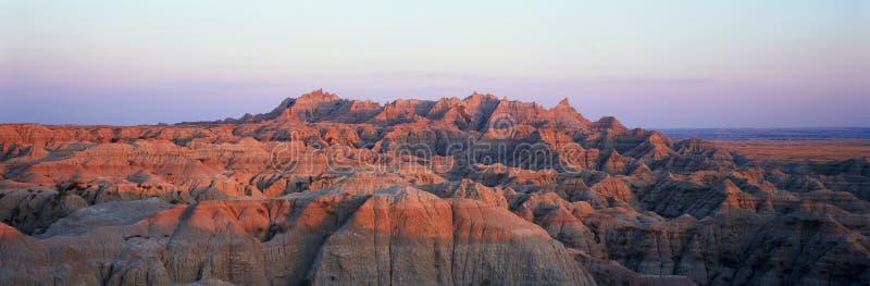 Vista panorâmica do por do sol das montanhas no parque nacional do ermo em South Dakota imagens de stock royalty free
