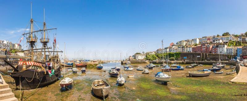 Vista panorâmica do porto de Brixham, Devon imagem de stock royalty free