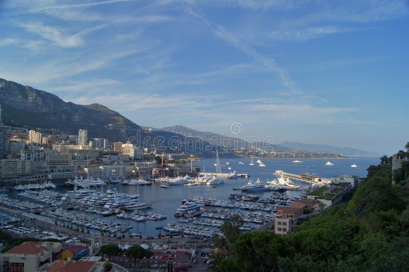 Vista panorâmica do porto de Monte - de Carlo em Mônaco fotografia de stock