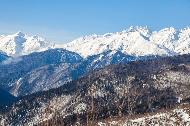 Vista panorâmica em montanhas do inverno da neve Montanhas de Cáucaso Sva imagem de stock