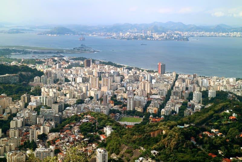 Vista panorâmica espetacular da baixa com arranha-céus, Rio de janeiro, Brasil, Ámérica do Sul fotografia de stock royalty free
