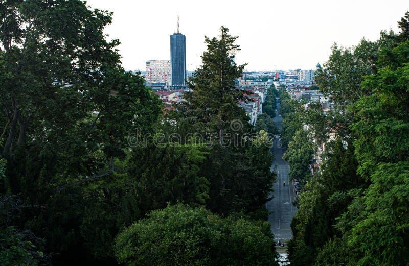 Vista panorâmica grande sobre Berlim no por do sol fotos de stock royalty free