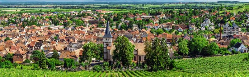 Vista panorâmica larga a Alsacevineyards, França fotos de stock royalty free