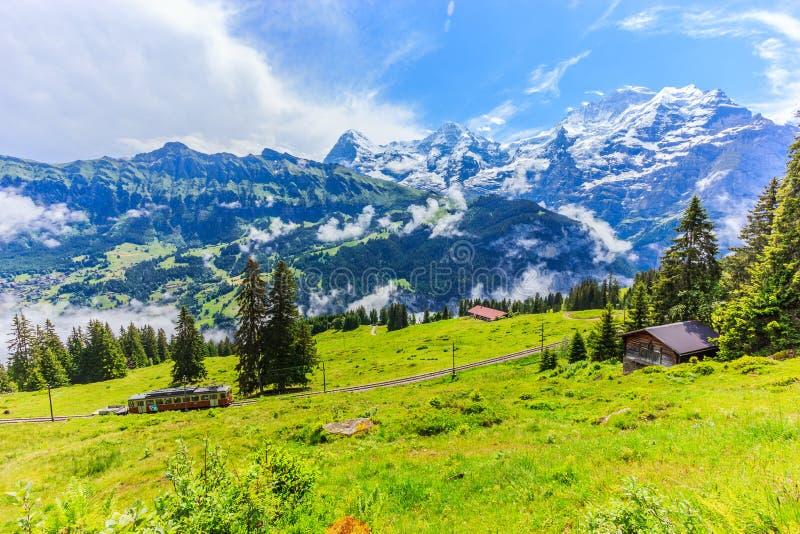 A vista panorâmica majestosa de Eiger, Monch, montanhas de Jungfrau de Murren-Gimmelwald arrasta, cumes suíços, Bernese Oberland, fotografia de stock royalty free