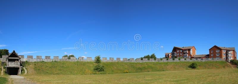 Vista panorâmica no interior do castelo em Trelleborg, Suécia fotografia de stock
