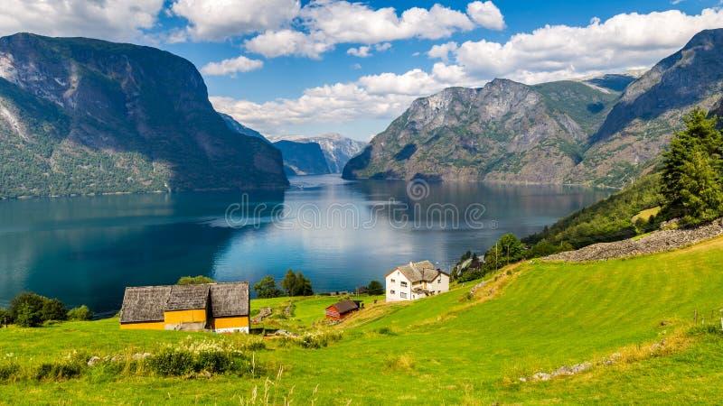 Vista panorâmica Stegastein em Aurland, og Fjordane de Sogn, Noruega imagens de stock