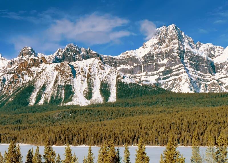Vista panorâmico às montanhas canadenses de Montanhas Rochosas fotos de stock
