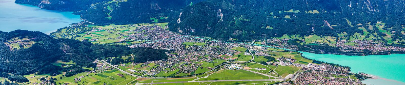 Vista panorâmico de Interlaken, Switzerland fotografia de stock royalty free