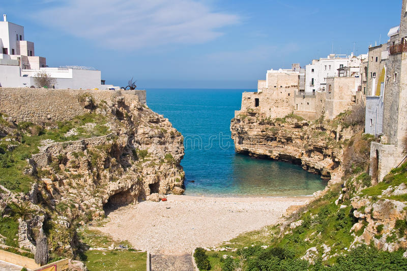 Vista panorâmico de Polignano Puglia Italy foto de stock royalty free