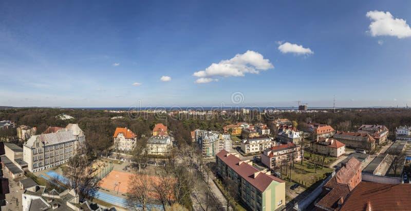 Vista panoramica ad orizzonte di Swinemuende, Polonia fotografia stock libera da diritti