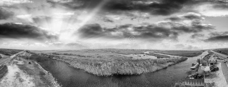 Vista panoramica aerea dei terreni paludosi parco nazionale, Florida immagine stock libera da diritti
