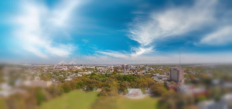 Vista panoramica aerea del parco di Forsyth in savana, Georgia immagine stock