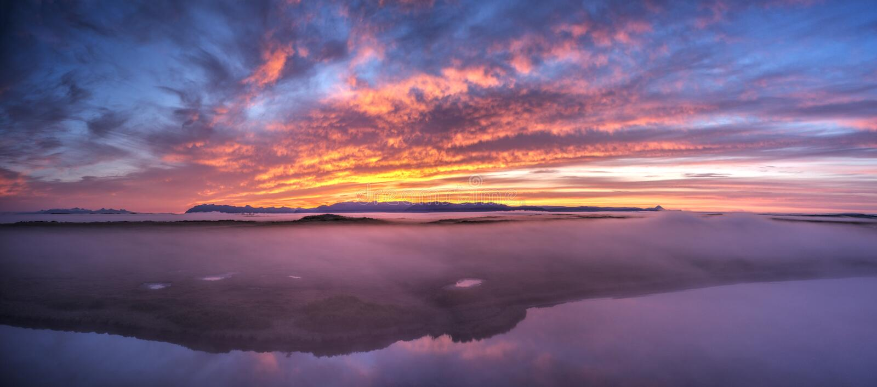 Vista panoramica aerea di paesaggio islandese fotografia stock