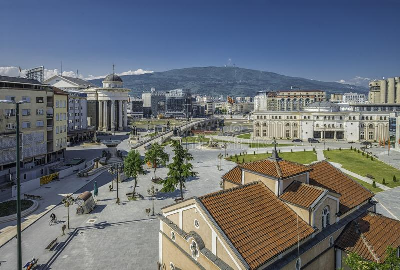 Vista panoramica dal campanile della chiesa di Dimitrij del san immagine stock libera da diritti