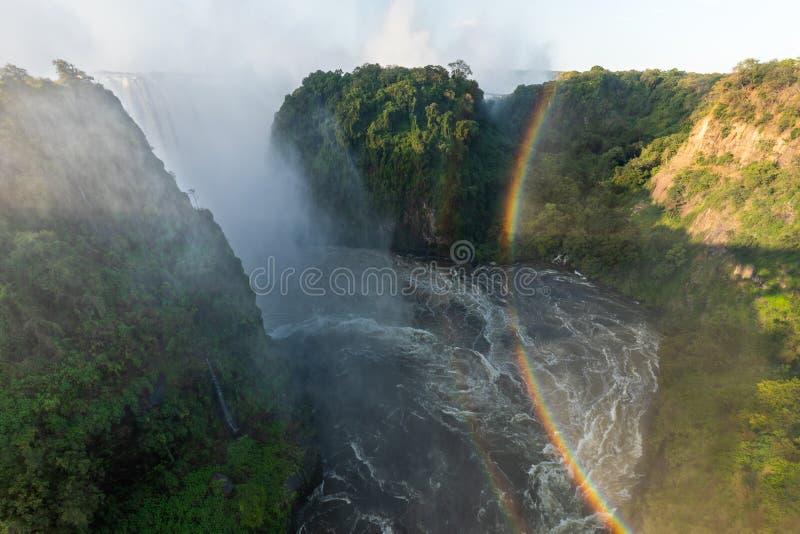 Vista panoramica dal ponte di Victoria Falls fotografia stock libera da diritti