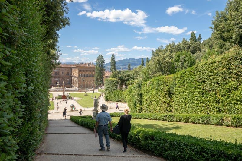 Vista panoramica dei giardini di Boboli (Giardino di Boboli) fotografie stock libere da diritti