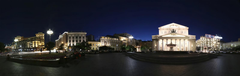 Vista panoramica del quadrato del teatro e del teatro di Bolshoi, Mosca, Russia immagine stock